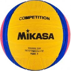 """Мяч для водного поло """"MIKASA W6608 5W"""" р.3, jun, резина, вес 340-380 г, дл. окр.61-63см, жел-син-роз"""