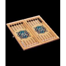 Нарды маленькие, с деревянными шашками, цветной рисунок