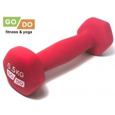 Гантель GO DO в виниловой матовой неопреновой оболочке. Вес 0,5 кг.  (Синий)