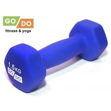 Гантель GO DO в виниловой матовой неопреновой оболочке. Вес 1,5 кг.  (Синий)