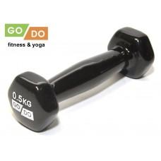 Гантель GO DO в виниловой оболочке. Вес 0,5 кг.  (Синий)