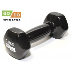 Гантель GO DO в виниловой оболочке.  Вес 2  кг.  (Зеленый)