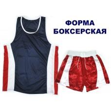 Форма для бокса взрослая (майка+шорты) цвет красно-синий р.50