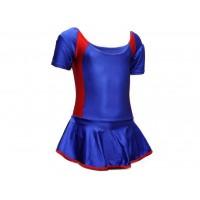 Купальник гимнастический модельный с юбкой. Состав: полиэстер. Размер L. Цвет: сине-красный. :(2008)