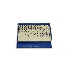 Домино большое в чехле белое. Шарик облегчает перемешевание костяшек на столе. Размер кости  48х24х9