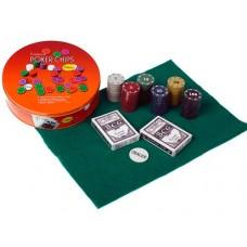 Набор для игры в покер:120 фишек с номиналом, фишка дилера, 2 колоды карт, сукно. :(QH-120):