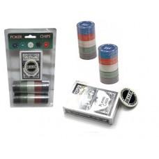 Набор для игры в покер. 80 фишек с номиналом, фишка дилера,  колода карт :(QH-80):
