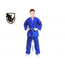 Кимоно дзюдо RHINO. Цвет синий. Размер 28-30. Рост 110. Кимоно из плетёной хлопковой ткани плотность