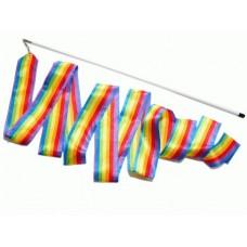 Лента гимнастическая с палочкой. Цвет радуга. Длина ленты 6 м. Длина палочки 56 см. :(В4, PD-02-РА):